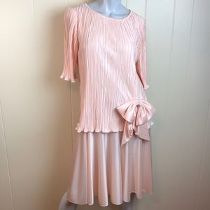 Vintage 80s/90s Peach Crinkle Top Party Dress